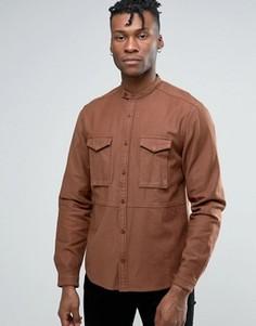 Рубашка классического кроя в стиле милитари с воротом на пуговице ASOS - Коричневый