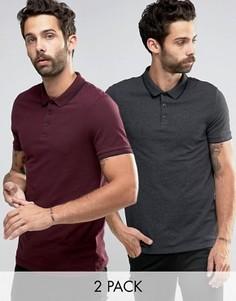 Набор из 2 футболок-поло красного и серого цвета ASOS, СКИДКА 11 - Мульти