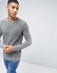 Меланжевый джемпер с круглым вырезом Selected Homme - Серый