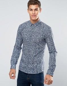 Рубашка слим в строгом стиле с камуфляжным принтом HUGO by Hugo Boss - Синий