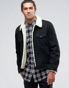 Черная джинсовая куртка с подкладкой из искусственного меха ASOS - Черный