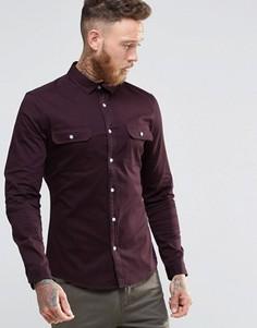 Красно-бурая рубашка скинни из саржи в стиле милитари с длинным рукавом ASOS - Красный
