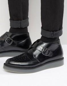 Кожаные туфли-криперы на танкетке Diesel Khiris - Черный