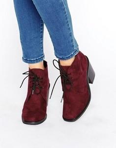 Ботильоны на среднем каблуке со шнуровкой London Rebel - Красный
