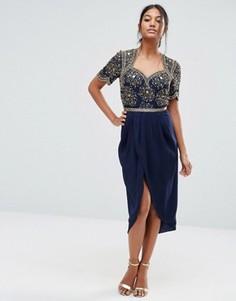 Декорированное платье миди с юбкой‑тюльпан Virgos Lounge - Темно-синий
