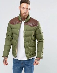 Стеганая куртка с кожаной кокеткой Penfield Pelam - Зеленый