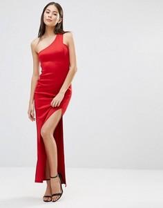 Асимметричное платье макси с разрезом сбоку AX Paris - Красный