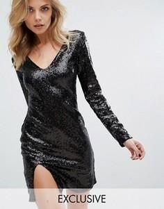 Платье мини с V-образным вырезом и длинными рукавами Club L - Черный