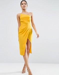 Платье миди на одно плечо с драпировкой ASOS - Желтый