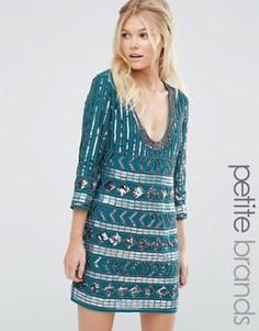 Платье с глубоким вырезом и отделкой Maya Petite - Зеленый