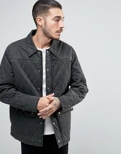 Черная стеганая куртка с вощеным эффектом ASOS - Черный