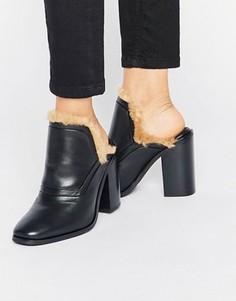 Кожаные сабо на каблуке с искусственным мехом Sol Sana Fever - Черный