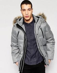 Пальто с меховой опушкой на капюшоне Puffa Caney - Серый