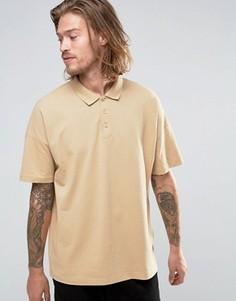 Бежевая футболка‑поло свободного кроя ASOS - Бежевый