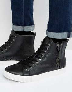 Кожаные кроссовки на молнии Calvin Klein John - Черный