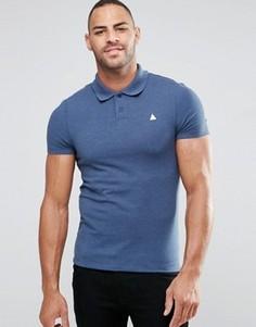 Синяя меланжевая футболка-поло из ткани пике с логотипом ASOS - Синий