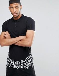 Длинная облегающая футболка-поло с платочным принтом по краю ASOS - Черный