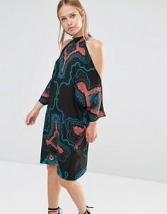 Oversize-платье миди с вырезами на плечах и принтом Liquorish - Черный