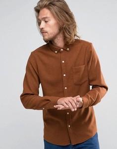 Коричневая рубашка классического кроя с добавлением шерсти ASOS - Коричневый