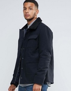 Куртка из 50% шерсти на подкладке с воротником борг Tokyo Laundry - Темно-синий