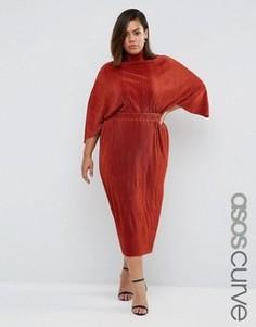 Плиссированное платье с высокой горловиной ASOS CURVE - Оранжевый