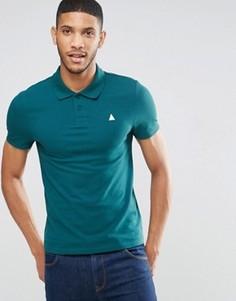 Зеленая облегающая футболка-поло из пике с логотипом ASOS - Зеленый