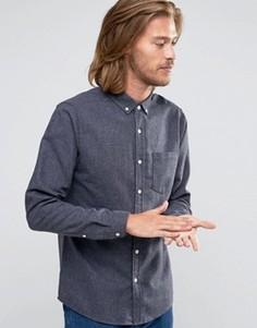 Серая рубашка классического кроя в крапинку с добавлением шерсти ASOS - Серый