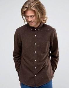 Коричневая рубашка классического кроя в крапинку с добавлением шерсти ASOS - Коричневый