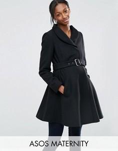 Короткое приталенное пальто для беременных с воротником-трубой ASOS Maternity - Черный