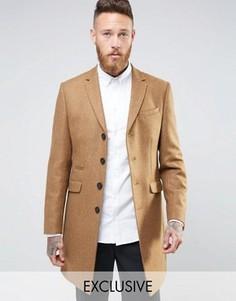 Пальто из 100% шерсти английского производства Heart and Dagger - Бежевый