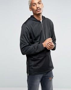 Длинное спортивное худи с карманом и короткой молнией ASOS - Черный