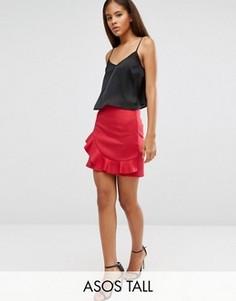 Мини-юбка с оборкой ASOS TALL - Красный