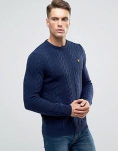 Темно-синий вязаный джемпер из овечьей шерсти Lyle & Scott - Темно-синий