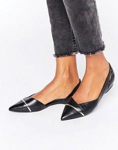 Остроносые кожаные туфли на плоской подошве ALDO Kedassi - Черный
