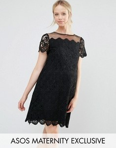 Цельнокройное платье для беременных из кружева ASOS Maternity - Черный