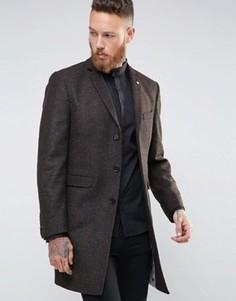 Пальто с шевронным узором Noose & Monkey - Коричневый
