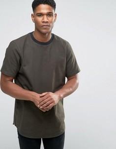 Oversize-футболка цвета хаки из ткани с имитацией шерсти ASOS - Зеленый