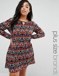 Платье с вырезом у горловины Brave Soul Plus - Мульти