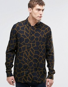 Рубашка из вискозы с длинными рукавами и жирафовым принтом ASOS - Черный