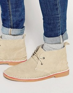 Бежевые замшевые ботинки чукка Bellfield - Бежевый