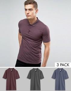 3 футболки-поло из пике (темно-синяя меланжевая/бордовая меланжевая/темно-серая меланжевая) ASOS - СКИДКА - Мульти