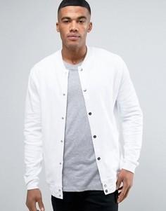 Белая трикотажная куртка‑пилот на кнопках ASOS - Белый