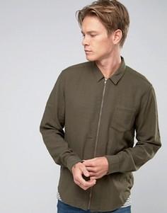 Рубашка стандартного кроя цвета хаки на молнии ASOS - Зеленый
