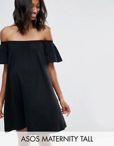Платье мини с открытыми плечами ASOS Maternity TALL - Черный