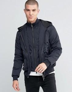 Темно-синяя водонепроницаемая куртка с капюшоном и вставкой Armani Jeans - Темно-синий
