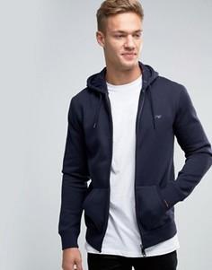 Темно-синее худи на молнии с логотипом Armani Jeans - Темно-синий