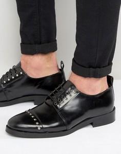 Черные кожаные туфли дерби с заклепками ASOS - Черный