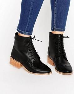 Кожаные ботинки-броги на шнуровке ASOS AMAR - Черный