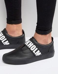 Черные кроссовки с принтом Stockholm на резинке ASOS - Черный