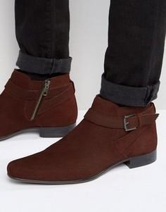 Бордовые замшевые ботинки с эффектом змеиной кожи и ремешком ASOS - Красный